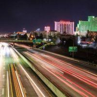 Nightime on I-80 through Reno
