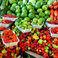 berries and vegetables at a farmers market