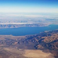 aerial view of pyramid lake