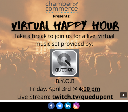 Reno + Sparks Chamber of Commerce, Virtual Happy Hour with Music